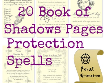20 Protection, Banishing and Curse Breaking Printed Spell Pages for Your Book of Shadows