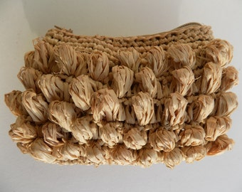 Wallet, clutch, raffia, purse, natural color, bag handbag straw, yellow, wallet, zip, made hand