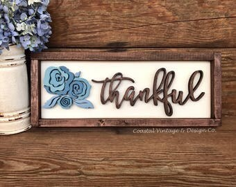 "Handcrafted Wood Sign ""thankful"" with Flowers Home Decor with Blue Floral Wall Art"