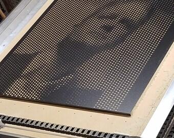 Portrait - CNC Halftone Engraved Latex Enamel MDF Picture