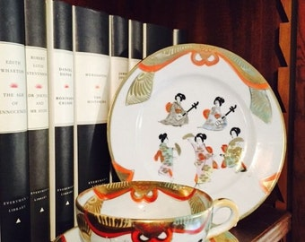 Vintage Eggshell Hand Painted Exquisite Trio with Geisha Girl Detail, Geisha Girl, Oriental Chinese tableware, Eggshell Tea cup and Saucer