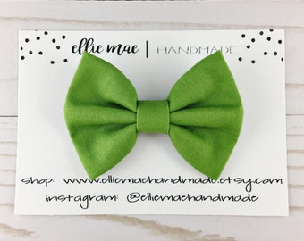 Grass Green - Baby, Toddler, Girls Fabric Bow Headband or Hair Clip, Solid Green Bow, Nylon Baby Headband, Classic Hair Bow