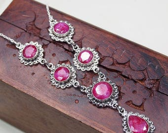 """Ruby Necklace,Genuine Ruby Pendant,Large Gemstone,Gift,Ruby Solitaire,Beautiful Necklace,Bihls 18"""""""