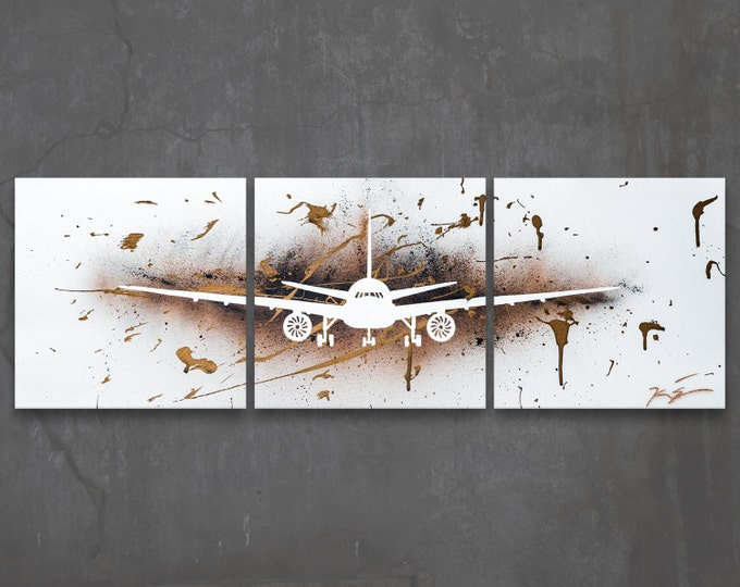 boeing 777 // custom original painting // modern triptych // airplane art // metallic large wall art// plane painting silhouette