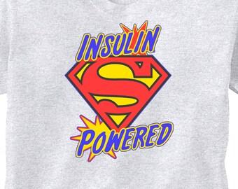 "Super Hero Type 1 Diabetes GREY ""Insulin Powered"" T-Shirt Juvenile Diabetic"