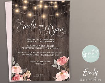 Rustic, Romantic Barn Wedding Invitation Suite, Emily Collection