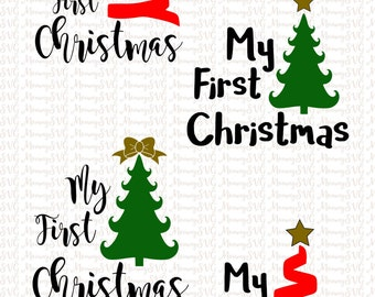 My First Christmas, Bow and Star Christmas Tree,  Cut File, Cricut File, Silhouette SVG