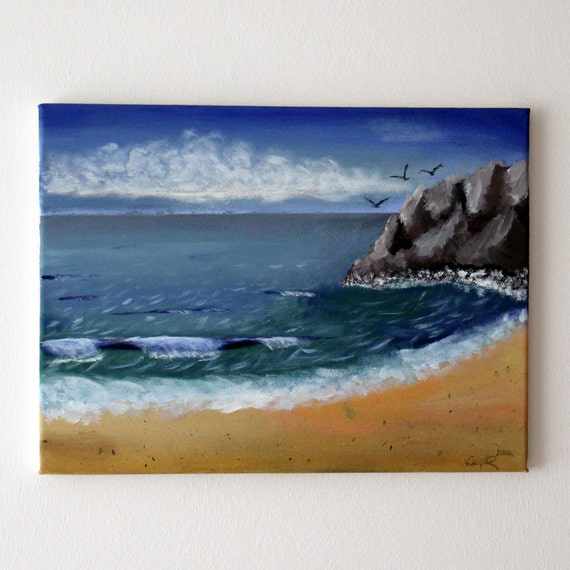 "Seascape Painting Art Acryl Original // ""Coastal Landscape"" 30x40cm on Canvas"