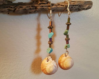 Hand-made Sterling Silver Beaded Turquoise Shell Earrings