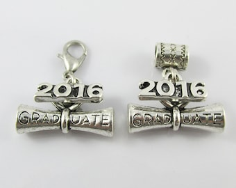 Silver Tone 3D Graduate Diploma Scroll 2016 Charm Select from Clip On or European clasp