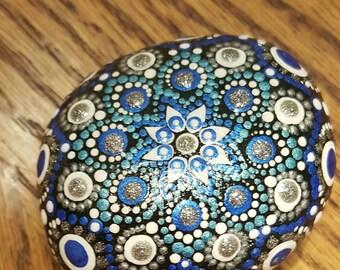 Handpainted stone mandala Jewel drop mandala,Acrylic painting, acrylic painted stone, mandala, home decor, office decor,perfect gift