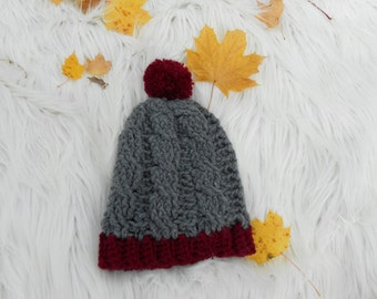 Crochet Cable beanie in Small