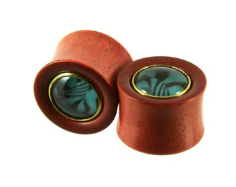 "Pink Ivory Wood + ""Marbled"" Glass Plugs - 16mm (5/8"") 