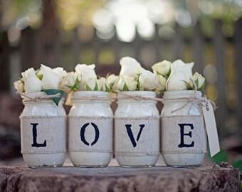 Beautiful LOVE Mason Jar Vase set hand stenciled on burlap