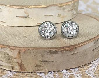 Druzy Earrings - 8mm - Silver