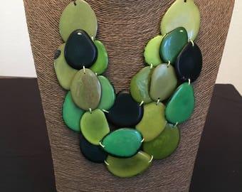 Green Tagua Statement Necklace / Tagua Jewelry Set / Tagua Necklace / Statement Necklace / Tagua Nut Jewelry / Tagua Earrings