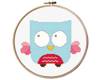 Cute cross stitch pattern, Owl cross stitch, kids cross stitch pattern pdf