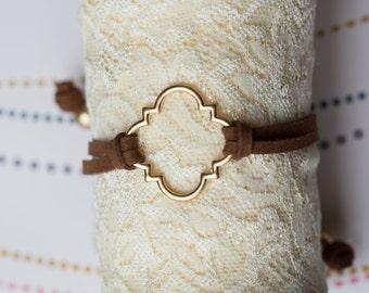Suede Band Quatrefoil Charm Bracelet