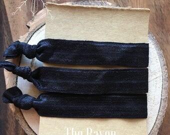 "Hair Tie Elastics ""The Raven"" Ribbon Hair Bracelets ~ Brunette Hair, Black Hair, Raven, Noirette, Yoga Hair, Hair Bands, Hair Accessories"