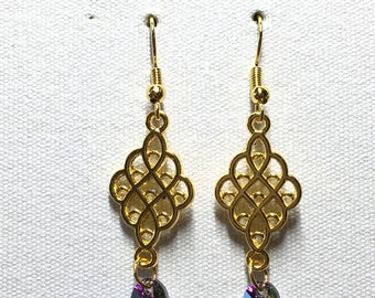 Gold chandelier earrings with purple Swarovski crystal charm