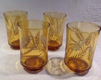 "Amber glasses Libbey ""harvest gold"" pattern vintage - set of 6 water glasses ""wheat sheaf"" / / manufactured in the United States"