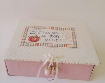 vintage cross stitched  pink sewing box