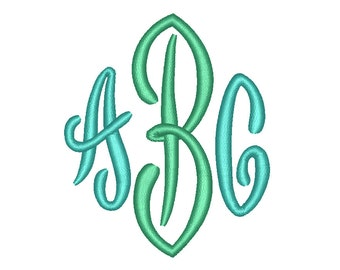 3 Size End Scroll Monogram Embroidery Fonts BX Instant Download 9 Formats Embroidery Pattern Machine BX Embroidery Fonts PES
