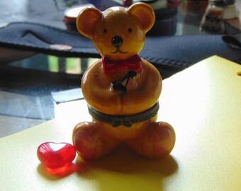 Overstuffed Teddy Bear with a red blown glass heart