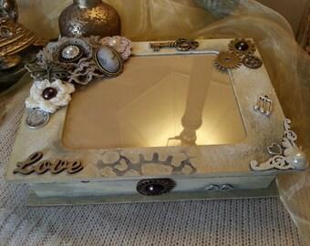 A keepsake box, jewellery box, jewelry box, photo frame, chic, memory box, romantic box steampunk