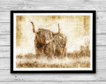 Bull print, Archival art print with style of old geographic maps, Bull Art Print, Bull wall art, Animal Printable Art, Nature Wall Art