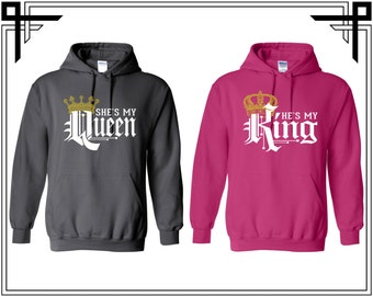 She's My Queen He's My King Love Couple Hoodie Couple Hoodies Hooded Sweatshirt Party Top Valentines Day & Anniversary Gift For Couples