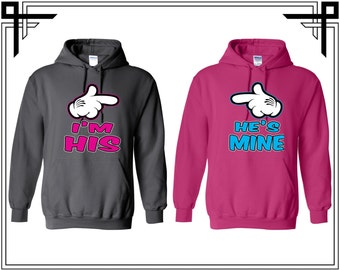 I'M Hers He's Mine BFF Bestfriend Love Hoodie Couple Hoodies Hooded Sweatshirt Party Top Valentines Day & Anniversary Gift For Couples