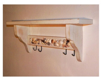 Shabby Chic shelf with hangers MADE in ITALY