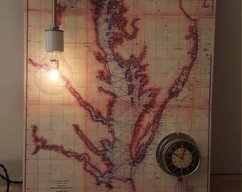 nautical map,  vintage lighting with nautical clock