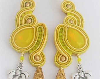 soutache earrings yellow and bee