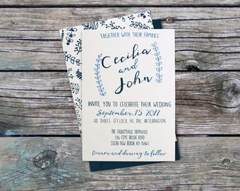 Prussian Blue Whimsical Wedding Invitation Kit