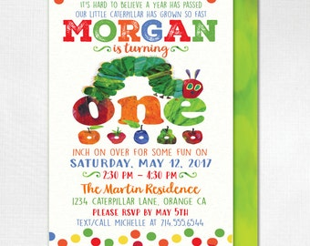 Hungry Little Caterpillar 1st Birthday Invitations, Caterpillar First Birthday Theme, Vintage Hungry Caterpillar Invitations, DI-396FC