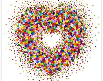 Heartful On White Background Small Prints