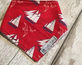 Red Ship Sailing Boat Cotton Dribble Bib