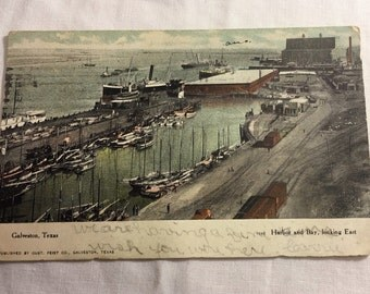 Vintage postcard Galveston Texas - Harbor and Bay - postmarked 1907