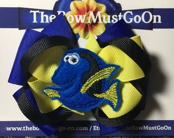 Finding Dory inspired bow/Dory Bow/Pixar Character Bows/Theme Park Bows/Dory Hair Bow/Dory Clip/Disney Inspired Hair Bows/Character Bows