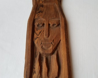 Vintage wooden handmade sculpture which you can hang on the wall