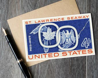 US postage cards, USA postage stamps, st. lawrence seaway, maple leaf card, bald eagle card, vintage birthday card, antique stamp art