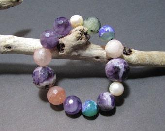 Pearl and amethyst bead bracelet