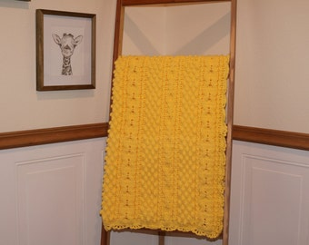 Yellow Cable, Twist, Popcorn, and Honeycomb Design Baby Blanket