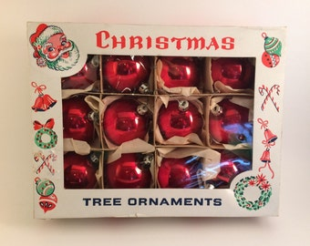 Beautiful In the Original Box - 12 Vintage 1950's Made in Poland Round Red Christmas Tree Ornaments