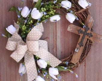Easter Wreath, Spring Wreath, Cross Wreath, Rustic Grapevine Wreath, Front Door Wreath, Welcome Wreath, White Tulip Wreath, Shower Gift