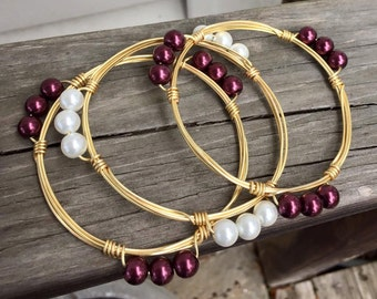 Maroon OR White Gold Wire Bangle