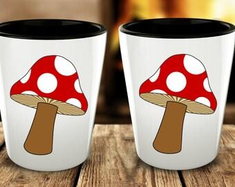 Psychedelic Mushroom Shot Glasses - Cute Shotglasses - Mushroom Tea Cups - Shot Glass Gifts for Vegetarians - Funky Vegan Gifts