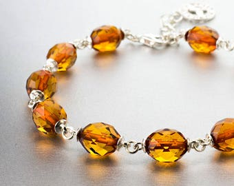 Amber, 925 sterling silver , bracelet, natural stone,